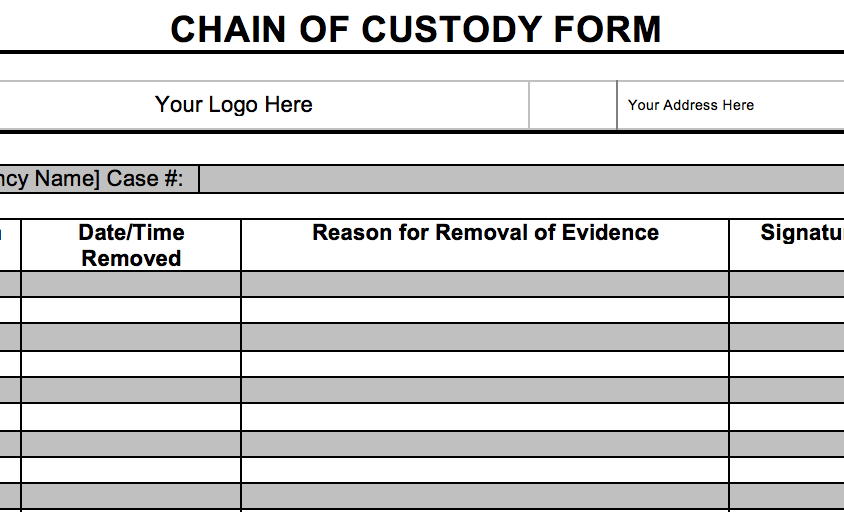 Screenshot of Chain of Custody Form