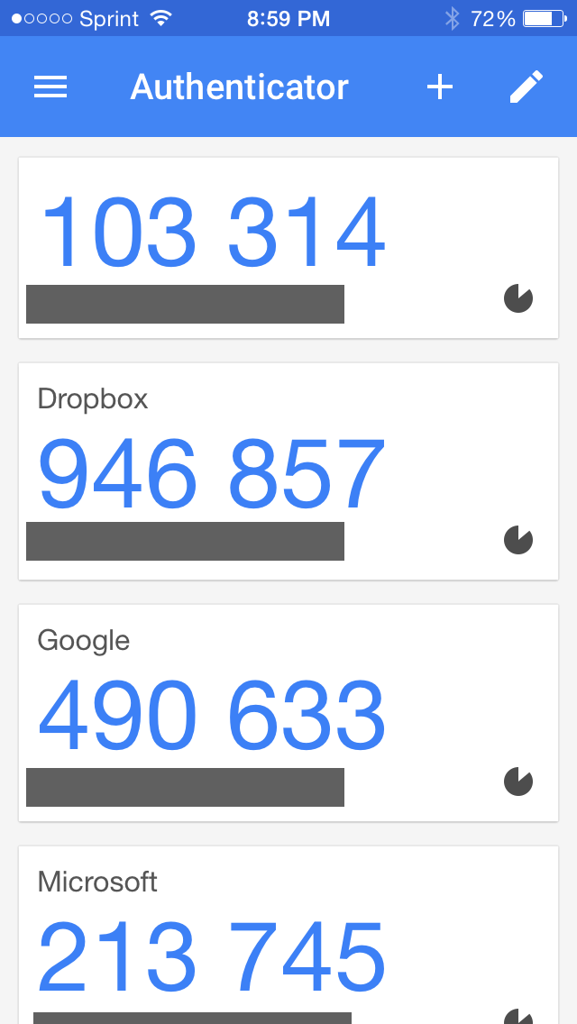 Screenshot of Google Authenticator app
