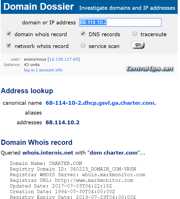 Screenshot showing lookup of IP using Domain Dossier