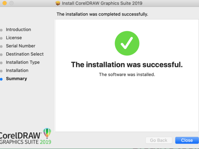 CorelDRAW installation successful screenshot
