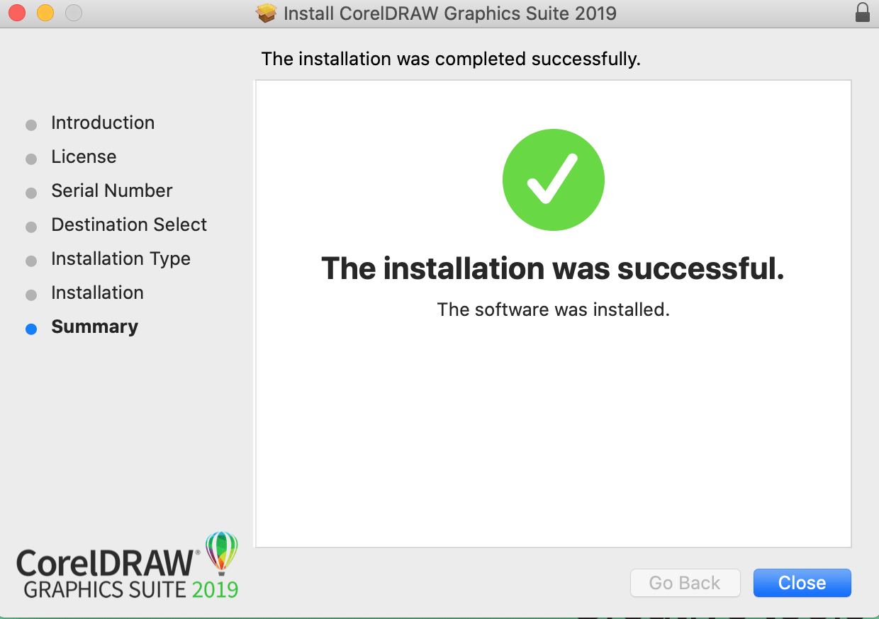 CorelDRAW installation successful screenshot